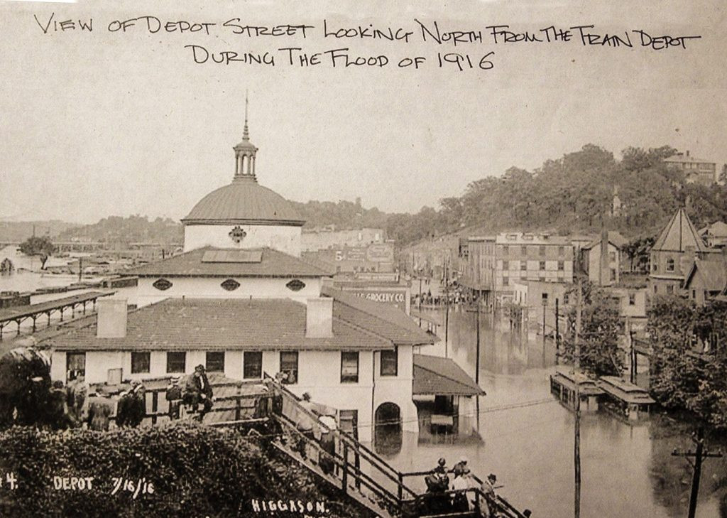 View of Depot Street looking North from the train depot during the flood of 1916.